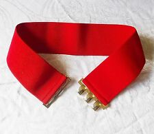 VERSATILE 80S STYLE RED PRINT GOLD TONE CLASP WIDE STRETCH BELT NEW LOOK S/M