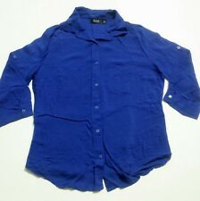 a.n.a. Woman Blouse Size Petite Medium Purple 3/4 Sleeve Button Front
