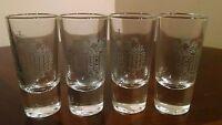 4 New Russian Imperia Vodka Silver Logo Shot Glasses - Bottoms Up