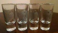 4 New Russian Imperia Vodka Silver Logo Shot Glasses - Bottoms Up