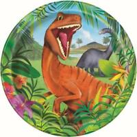 "DINOSAUR 23CM/9"" PAPER PLATES PACK OF 8 BIRTHDAY PARTY SUPPLIES"
