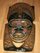 AFRICAN NIGERIA TRIBAL MASK HAND CARVED WOOD BEADED BRASS INLAY WALL HANGING