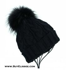 Boutique Real Fur Detachable PomPom Wool Knitted Braided Hat Beanie $89 NWT GIFT