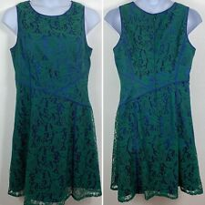 Adrianna Papell Womens Plus 16 Dress Blue Green Lace Sleeveless Back Zip