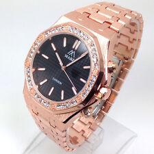 530P Men Celebrity Style Wrist Watch Rose Gold Band Diamante Black Dial Quartz