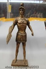 "32""Western Art Bronze Statue Famous Roman warrior shield Statue Sculpture"