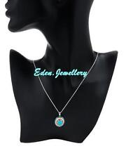 $220 Stunning FPJ Necklace 2.70ctw Turquoise Zirconia Sterling Silver SAVE $100