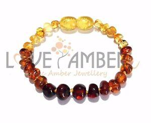 Mixed Genuine Baltic Amber Child Anklet Bracelet Love Amber X UK Rainbow Bright