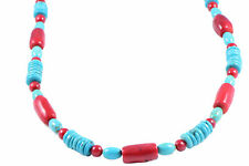 Semi-Precious Gemstone Turquoise Red Coral Beads 19.5 inch  Handmade Necklace