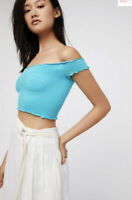 NEW Free People Intimately Smocked Crop Top in Blue Size XS/S & M/L $54.11