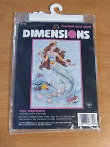 Vintage 1997 Dimensions The Mermaid 6750 Ocean Sea Shells Fish Cross Stitch Kit