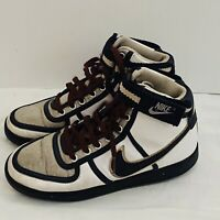 Nike Men's size 8.5 White Black Silver Tan w Maroon Laces 8 1/2