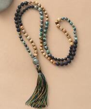 8mm Natural Stone Lava 108 Beads Mala Tassels Necklace meditation men women