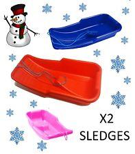 2 KIDS HEAVY DUTY SNOW SLEDGE TOBOGGAN SLEIGH SLED ROPE PLASTIC ADULTS SKI BOARD
