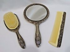 Vintage Silverplate Dresser Vanity Set Hand Mirror Brush & Comb Set