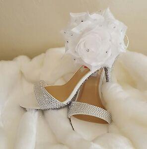 ICE PRINCESS RHINESTONE CINDERELLA BRIDAL WEDDING HEELS PARTY CLUB COSTUME