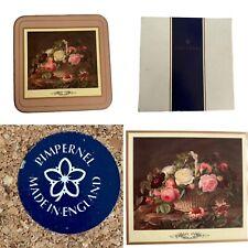🌟Vintage Pimpernel Set 6 Rose Basket Coasters Boxed Square
