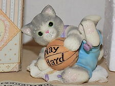 Enesco Calico Kittens Play Hard Cat Kitty with Basketball Sports New 1999