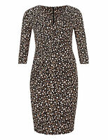 bnwt MARKS & SPENCER DRESS UK 26 SECRET SLIMMING MOCK WRAP ABSTRACT ANIMAL PRINT
