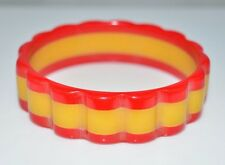 BAKELITE Tested True Red Yellow Scalloped Bangle Bracelet Vintage
