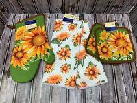 5 pc Yellow Green Sunflowers Kitchen Dish Towels Pot Holders Oven Mitt Summer