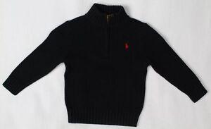 Children POLO Ralph Lauren Black 1/2 Half Zip Sweater Red Pony NWT