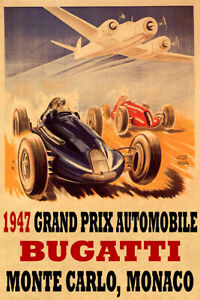 1947 Grand Prix Automobile Bugatti Monaco Car Race Vintage Poster Repro FREE S/H