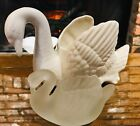 Swan planters 1 large and 1 small satin glass swan succulent planter