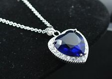 "18"" Silver Rose Spade Sapphire HEART OF THE OCEAN CZ Necklace Pendant Gift Box"