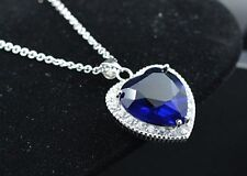 Silver Titanic Rose Heart Of The Ocean Sapphire Crystal Necklace Pendant Gift