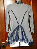 ANTHROPOLOGIE GUINEVERE Steamed Cappuccino navy striped ruffle cardigan top 4C