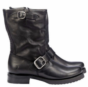 NEW Frye Women's Veronica Short Buckle Moto Boots, Black Leather