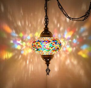 SWAG PLUG IN Turkish Moroccan Mosaic Ceiling Hanging Lamp Pendant Light Fixture