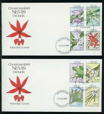 Nevis Scott #626-633 FIRST DAY COVERS (2) Orchids Flowers FLORA Christmas $$