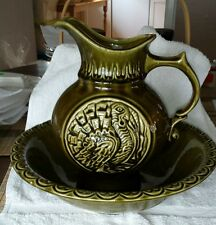 McCoy pitcher and bowl with turkey pattern