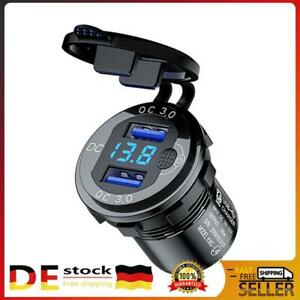 Dual USB Auto Steckdose Ladegerät Buchse 12V/24V Motorrad KFZ Einbau mit Shalter