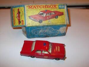 RARE VINTAGE MATCHBOX 59 FIRE CHIEF CAR  MINT  + BOX