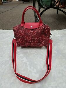Longchamp  red flower handbag with strap crossbody