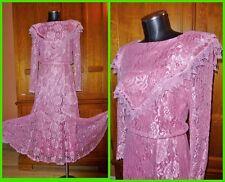 Vtg 70s 80s Sheer Rose Lace Cape Collar Boho Wedding Evening Party Maxi DRESS