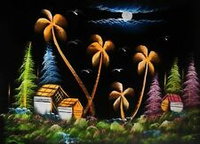 "Painting On Velvet Cloth Colorful  Night scene in a Village 27"" X 20.5"""