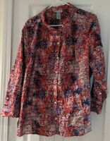 Catherine's 3X(WP) 26/28 Plus White/Red/Blue Blouse