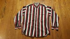 Tommy Hilfiger Striped Button up Shirt XL Red White Blue Green crest LS VTG 90s