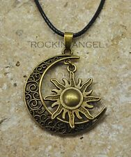 Vintage Bronce Estilo Celestial Sol & Luna Colgante Collar Damas Regalo Espiritual