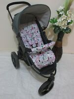 Handmade pram liner set-Pink feathers-100% cotton*Funky babyz