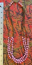 Pink African Paper Bead Necklace 3 strand from Uganda