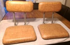 Two Vintage Brown Folding Stadium Bleacher Boat Chairs Cushion Seat NEAR MINT