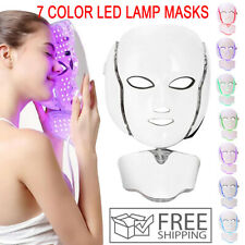 7 LED Light Photon Face Mask Neck Rejuvenation Skin Therapy Wrinkles Anti aging