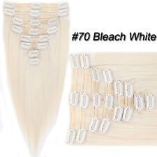 7A Ombre Thick Clip in Real Human Hair Extensions Full Head Double Weft US SU944