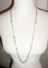 CHICO'S FIESTA SILVER TONE GREEN CRYSTAL LONG LINK NECKLACE NWT