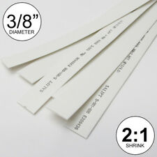 """3/8"""" ID White Heat Shrink Tube 2:1 ratio wrap (5x24"""" = 10 ft) inch/feet/to 10mm"""